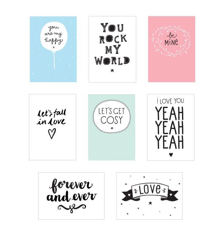 """Poster-Set """"Love"""" für die Poster-Lightbox von A Little Lovely Company"""