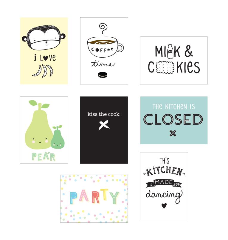 """Poster-Set """"Kitchen"""" für die Poster-Lightbox von A Little Lovely Company"""
